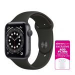 Apple Watch Series 6 GPS 44mm Space Gray Aluminum Case with Black Sport Band Smartwatch