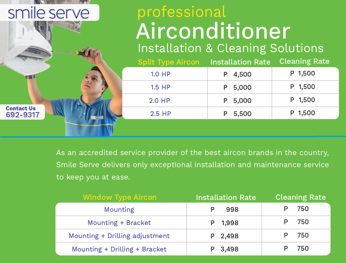 aircon installation cleaning rate